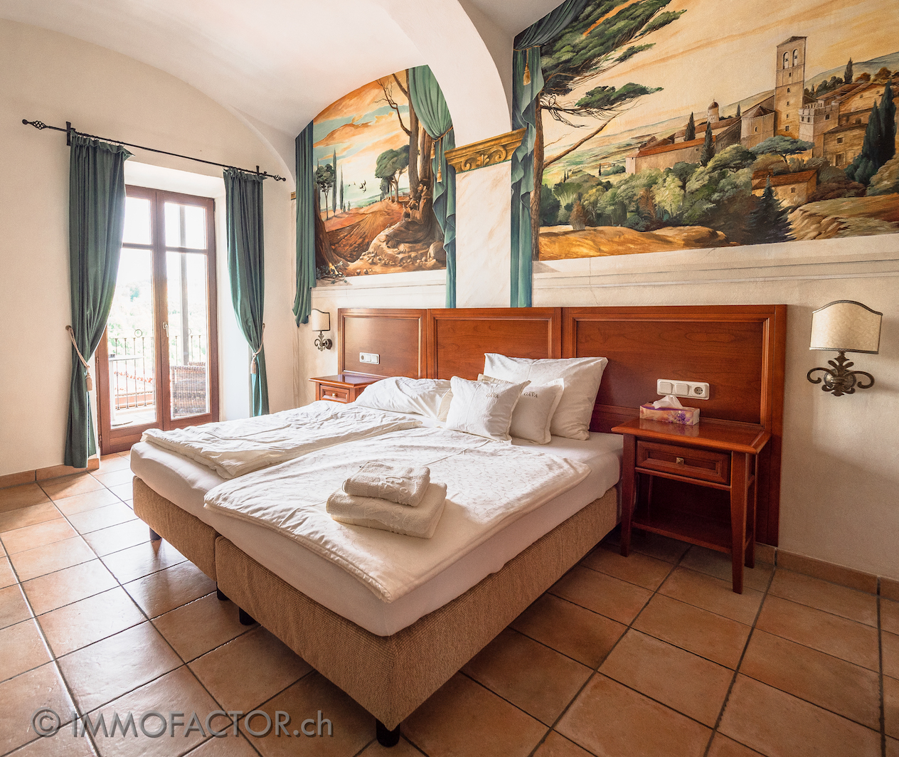 Guest room with mural painting